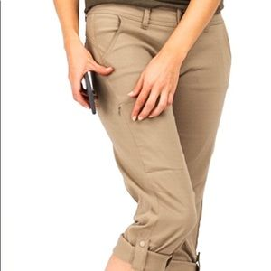 PRANA HALLE ROLL-UP PANTS DARK KHAKI